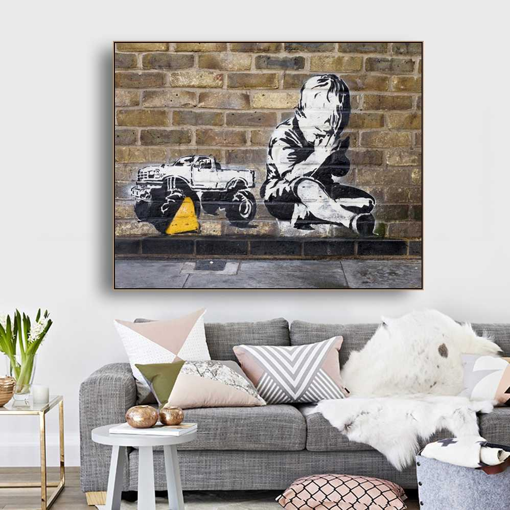 Little Boy by Banksy Wall Art Decor Canvas Painting Calligraphy Poster and Print Decorative Picture for Living Room Home Decor