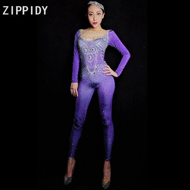 Silver Rhinestones Spandex Purple Jumpsuit Women's Birthday Evening Celebrate Outfit Nightclub Wear DJ Female Singer Clothes