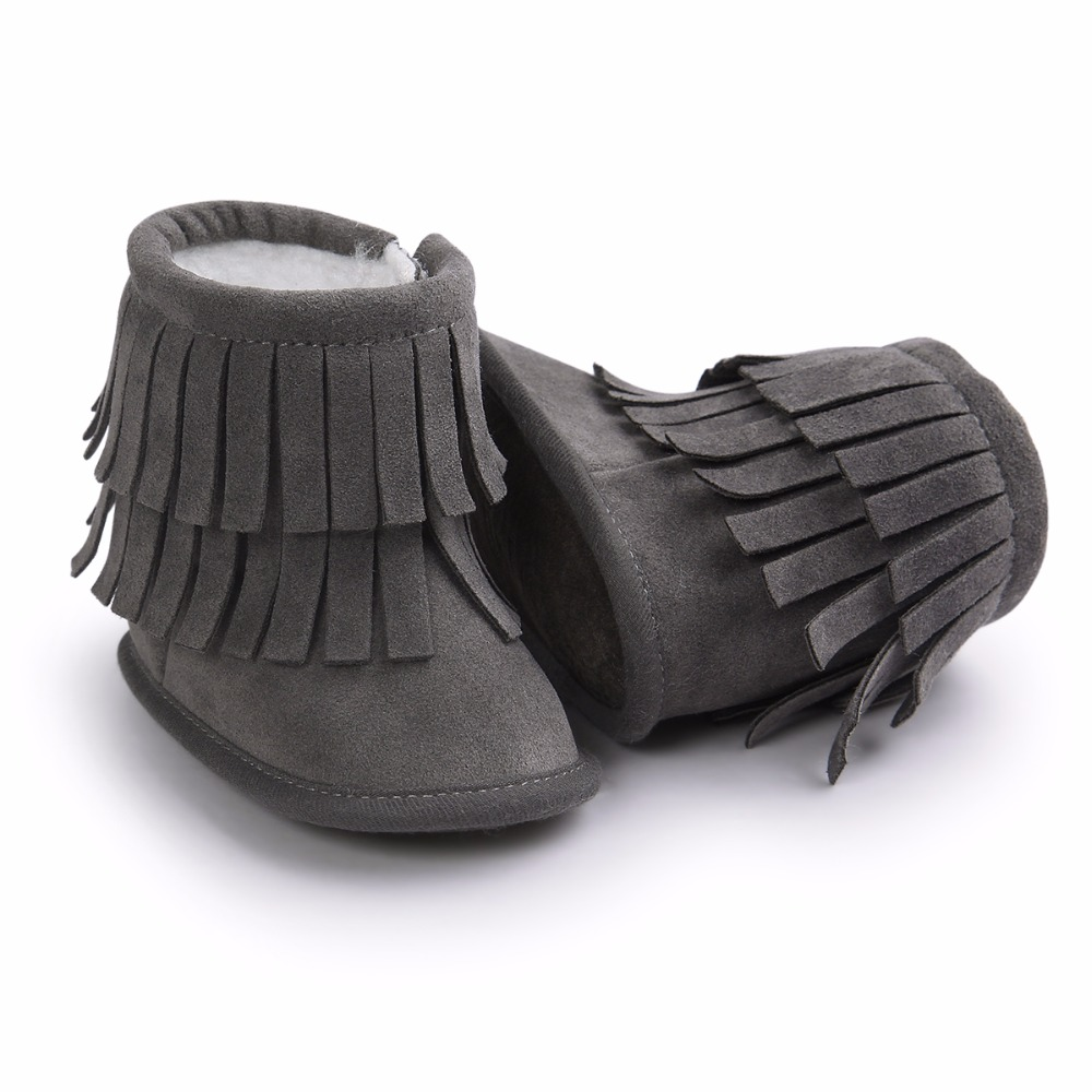 Baby Children Winter Warm Boot Baby Girl Shoes Baby Fur Soft Soled Kids Booties with Tassel