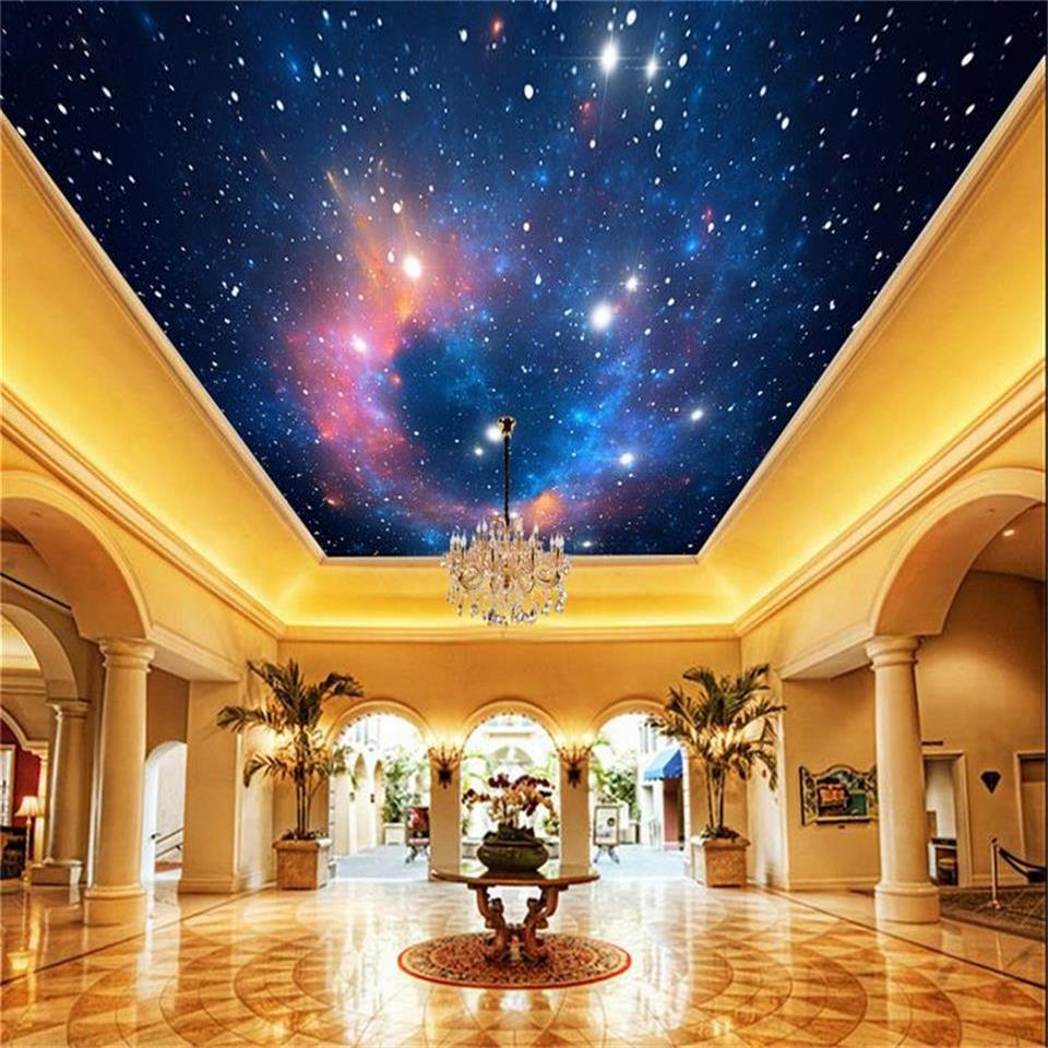 3D wallpaper custom size photo livingroom hang ceiling mural romantic star sky universe painting non-woven wallpaper for wall 3d 3d wallpaper custom mural non woven wall sticker 3d flowers and blue sky and white cloud ceiling murals wallpaper for walls 3d