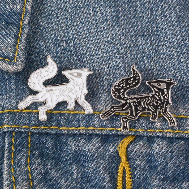 Черная и белая эмалированная брошь волк лацкан булавка джинсовая рубашка сумка мультфильм Прохладный Панк ювелирные изделия подарок для мужчин Мальчики друзья