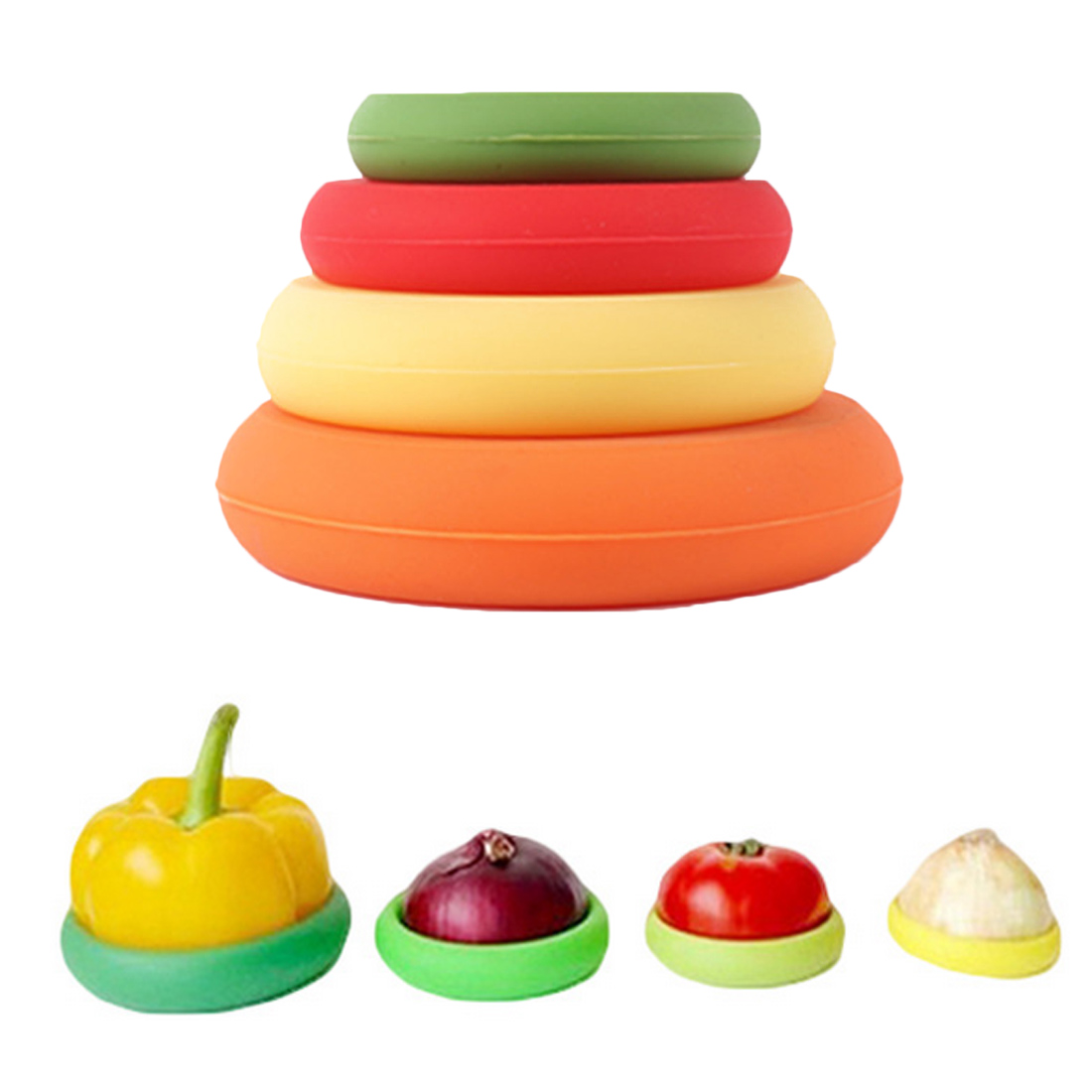 Bowl Pot Seal Cover 4Pcs Reusable Silicone Food Wrap Stretch Fresh Fruits Savers Lids Embracers Food Savers Kitchen Accessories