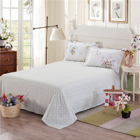 White Print Pattern 100 Cotton Home Textiles Bedding 3Pcs 1Pcs Bed Sheet Set 2Pcs Pillowcase Super