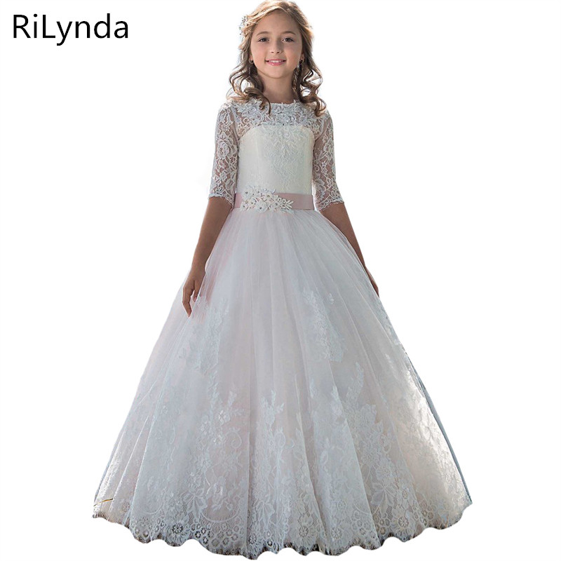 Kids   Flower     Girl     Dresses   Children Pageant Evening Gowns Sequined Lace Mesh Ball Gowns Wedding First Communion   Dresses