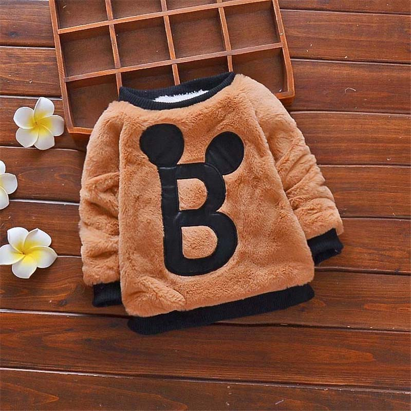 BibiCola Baby Boys Winter Sweaters Kids Boys Cartoon Warm Velvet Sweaters Children Boys Winter Pullover Sweaters Boy Clothing new arrival children sweaters european and american style with shirt collar kids sweaters outerwear pullover boy s sweaters