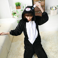 Kiguruma Pajamas Cat Leotard Onesie Animal Sleepwear Halloween Patchwork Polar Fleece Kiguruma
