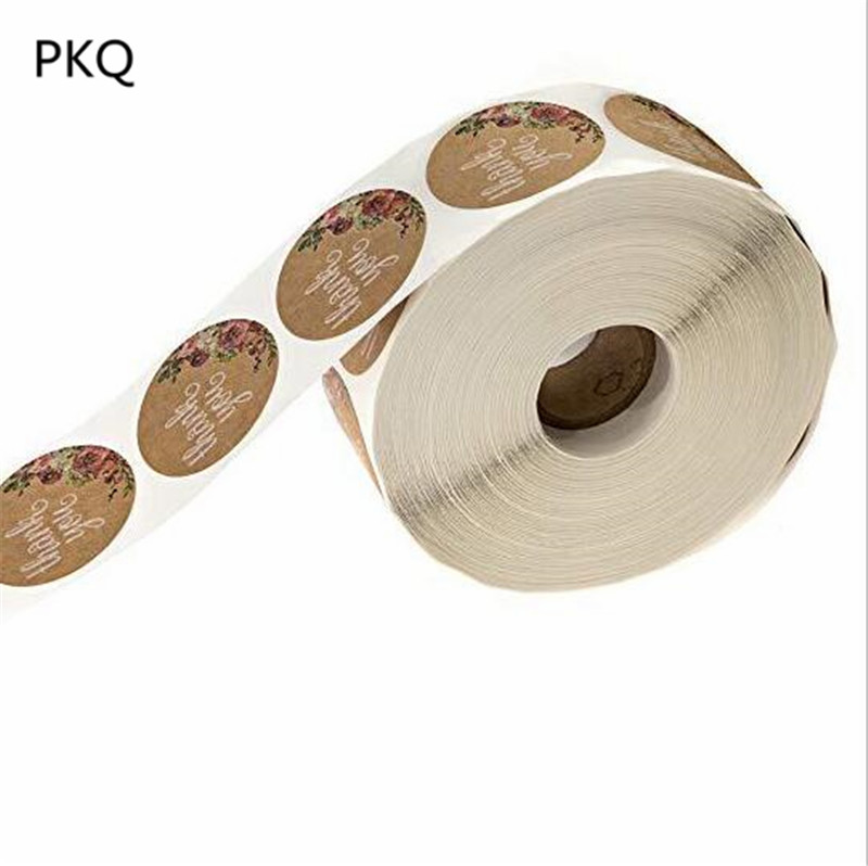 500 Labels per roll 1 inch Round Natural Kraft Thank You Stickers with Flower Printed Cute stickers for seal label Thank sticker(China)