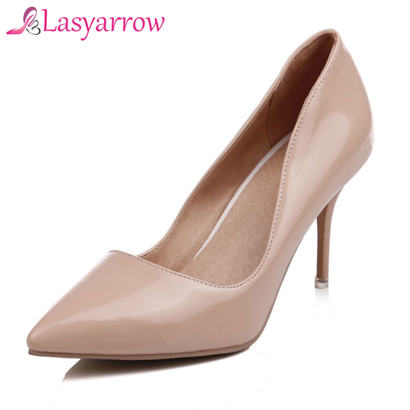 Lasyarrow Brand Shoes Women Sexy Pointed Toe High Heels Party Wedding Shoes Pumps Black Nude Shoes Heels Plus Size 30-48 RM054 lasyarrow wedding shoes women pumps sexy high heels peep toe platform shoes big size 30 48 ladies gladiator party shoes cc015