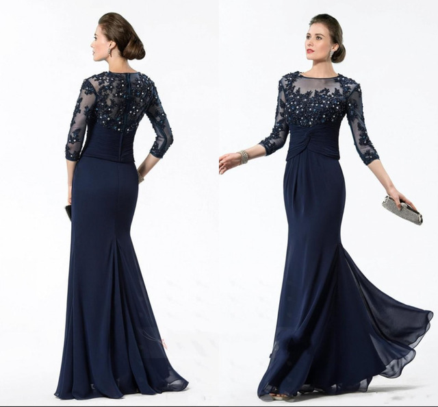 1187e731071bd Dark Navy Blue Plus Size Mother Of The Bride Dresses Sexy With Appliques  Beads Lace Long Sleeves Chiffon Bridal Pant Suits 2015