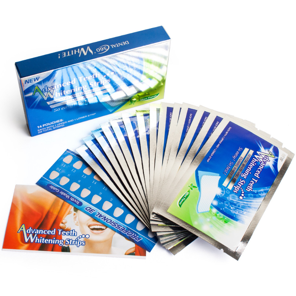 Teeth Whitening Strips Professional Teeth Bleaching Whiter Gel Strips For Party Valentine Sweet Smile, 28pcs/14 Pairs Per Lot