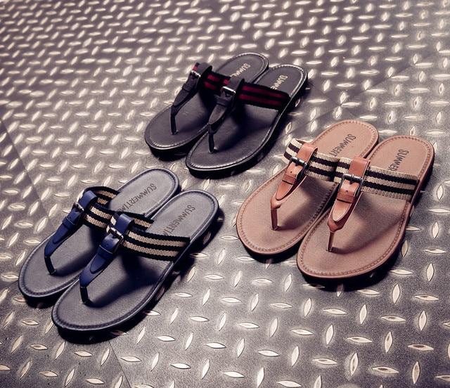 8ae8e5626f04 Summer NEW Europe US Arab Regal Men Slippers Black Blue PU leather Straps  Hasp Elastic Band beach slippers flat flip flops slide
