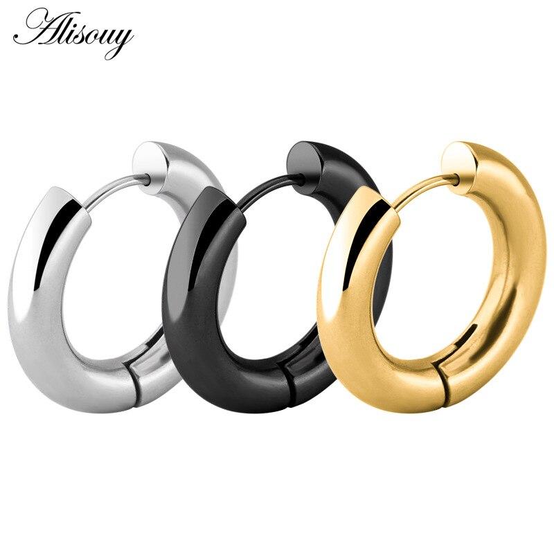Alisouy Black/Rose Gold/Silver Color Tone Stainless Steel Hoop Earrings Round Loop Earring Men Women big size Hyperbole Jewelry