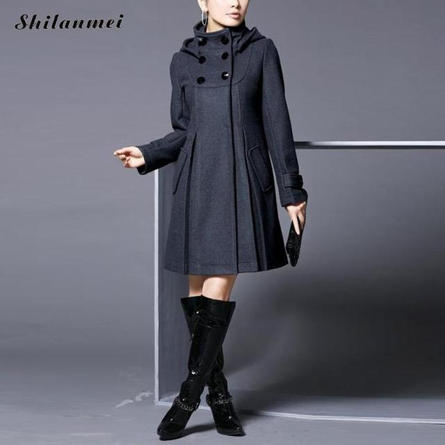 Gothic Winter Coat Women Wool Coats Plus Size Warm Thick Jacket Long Overcoat Autumn Outwear Casaco