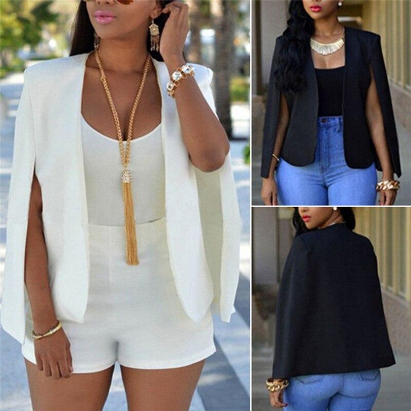Summer Fall Women Short Cloak Blazer Coat Cape Cardigan Jacket Slim Office Simple White Blazer Coat OL Suit Black Jacket Outwear