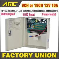 Barato Caja de fuente de alimentación CCTV ininterrumpida CE RoHS de alta calidad 9CH 18CH 12 V 10A ininterrumpida 9 canales 18 canales para cámara de CCTV