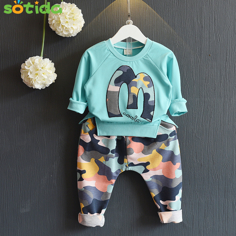 Kids Clothing Sets 2016 Fashion Winter Suits Girls Clothes Sweatshirts+Camouflage Pants Camouflage sports Children suits
