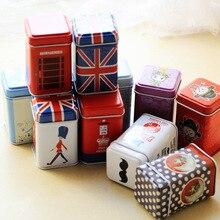 1 ud. Vintage hermoso colorido Sakura Floral Pastoral recipiente de almacenaje de hierro cuadrado sellado latas de café lata para el té, recipiente OK 0119