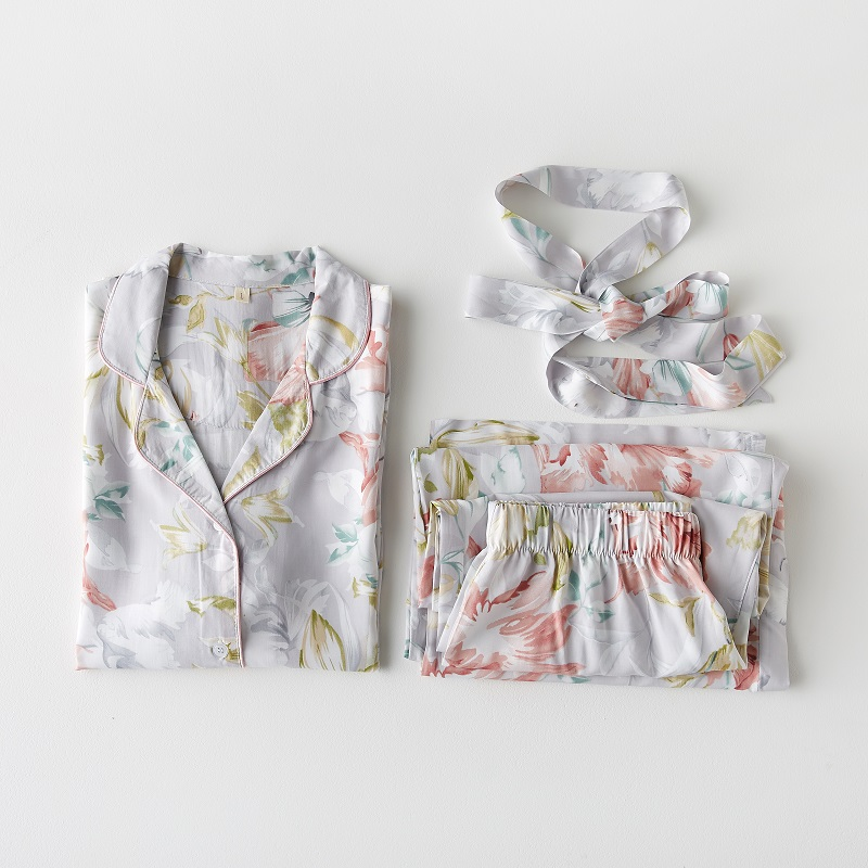 Fashion Floral Viscose Hibiscus Print Women's Long Sleeve   Pajama     Sets   Female Casual Loose Sleepwear Suits Spring Summer