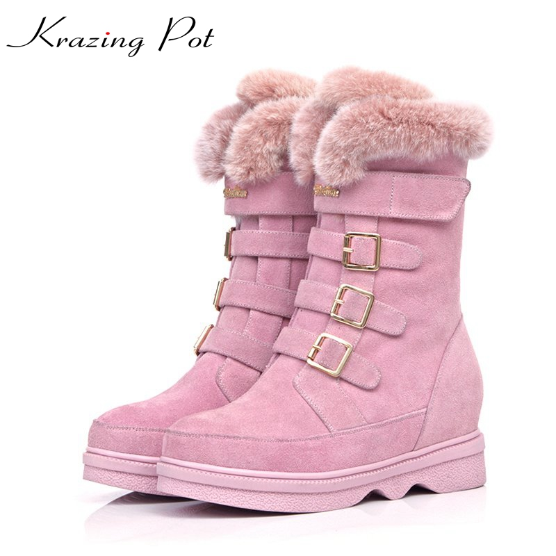 Krazing Pot cow suede rabbit hair round toe superstar keep warm metal buckle snow boots streetwear pink color mid-calf boots L87 косметички victorinox 601780
