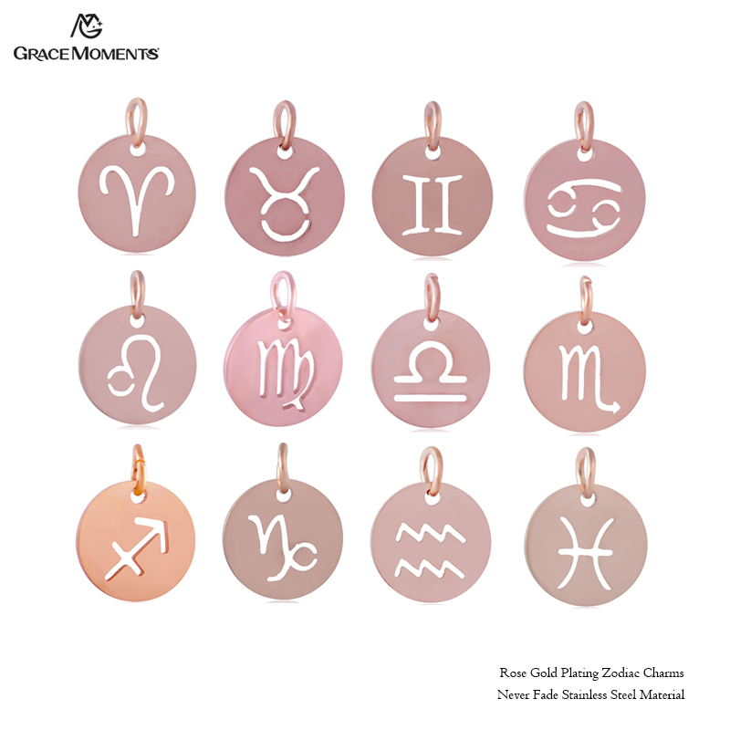 Grace Moments 12mm Rose Gold Color Zodiac Pendant Popular Charms, all 12 Signs in a lot  ...