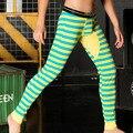 Colorful Stripe Cotton Breathable Men's Warm Long Johns Low Waist Basic Leggings Underpants