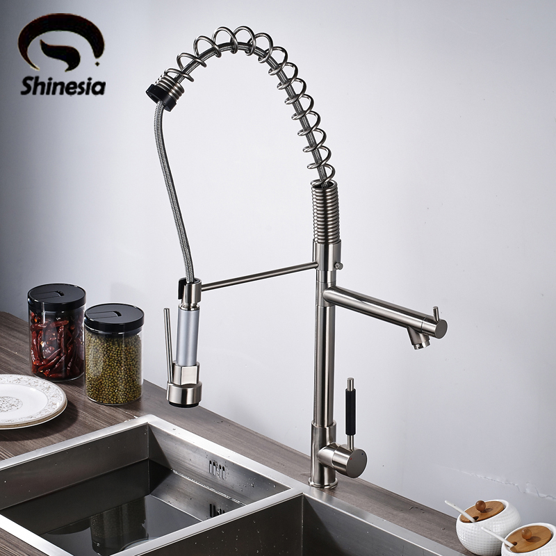 Solid Brass Kitchen Sink Faucet Pull Out Swivel Spout Single Handle Mixer Tap Nickel Brushed