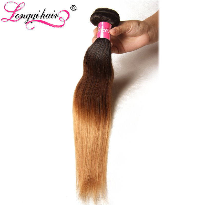 Longqi Hair Ombre Brazilian Straight Hair Weave Bundles T1B 4 27 Three Tone Color Remy Human