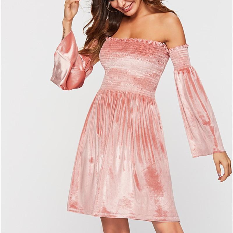 Women's Clothing 2019 Women Spring Sexy & Club Party Night Dresses Velvet Vintage Long Sleeve Mini Pink Dress