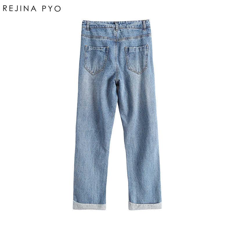 REJINAPYO/женские свободные зауженные джинсы с высокой талией, женские расклешенные джинсы с вышивкой, рваные джинсы с дырками, высокая уличная Длина по щиколотку