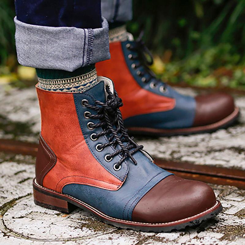Masorini Männlichen Spitze Up Warme Stiefel Männer Pu Leder Stiefel Winter Schuhe Mode Männer Brithsh Schuhe 2018 Mangelware Grund Stiefel