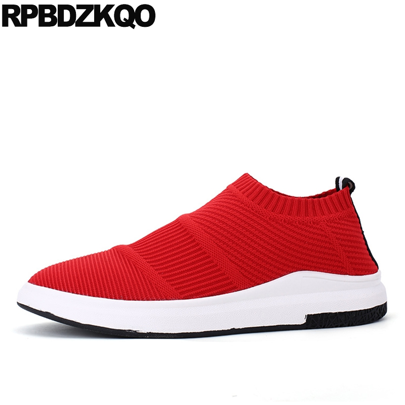 Red Men Mesh Slip On Shoes Breathable Soft Trainers Fashion Sneakers Casual Comfort Spring 2017 Walking Spring Hot Sale Stylish 2017 new arrival spring men casual shoes mens trainers breathable mesh shoes male hombre hip hop street shoes high quality