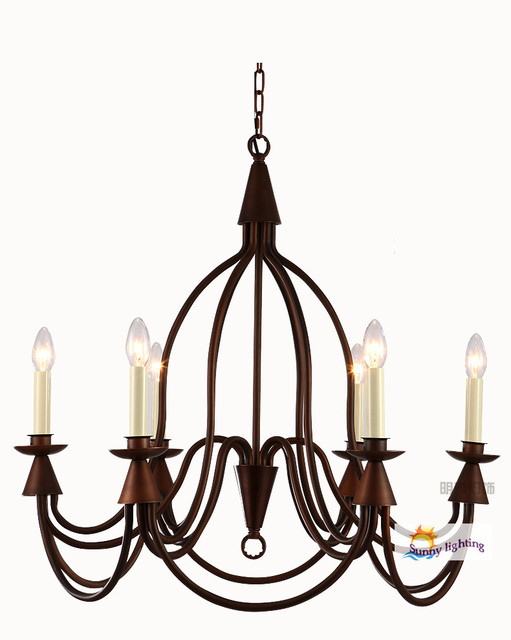 Antique chandelier led crystal candelara candle holder lamps iron American  country chandeliers dining room hotel hanging - Antique Chandelier Led Crystal Candelara Candle Holder Lamps Iron