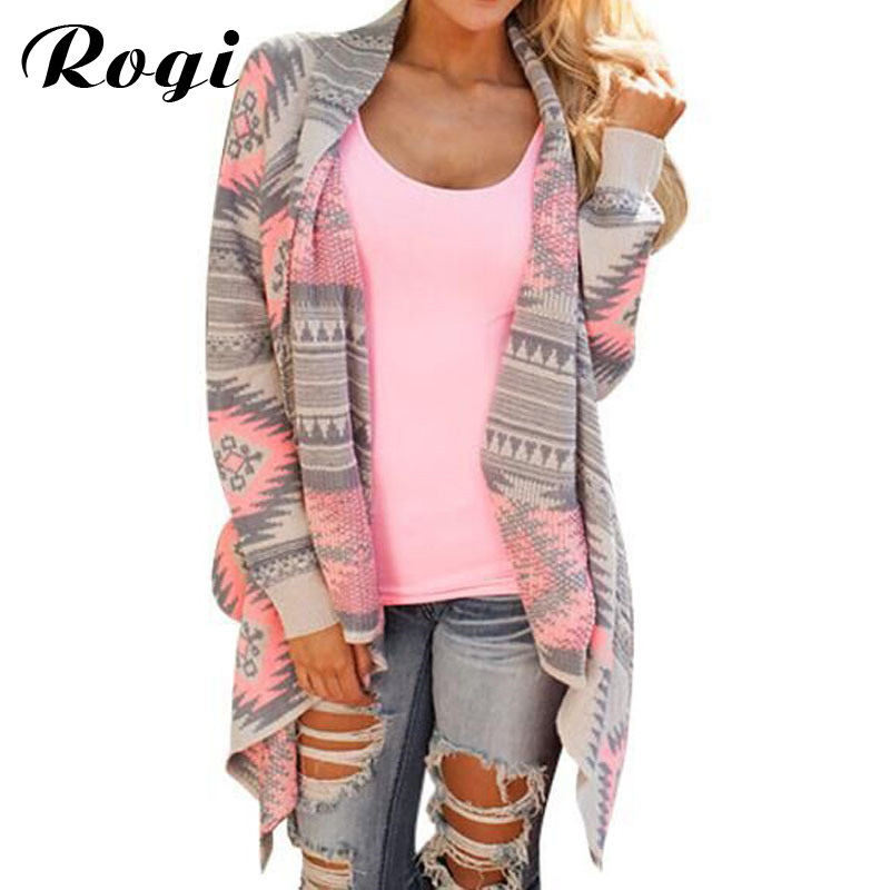 Rogi Cardigans Women 2017 Irregular Geometric Printed Cardigan Open Front Loose Aztec Sweaters Jumper Outwear Jackets Coat Tops