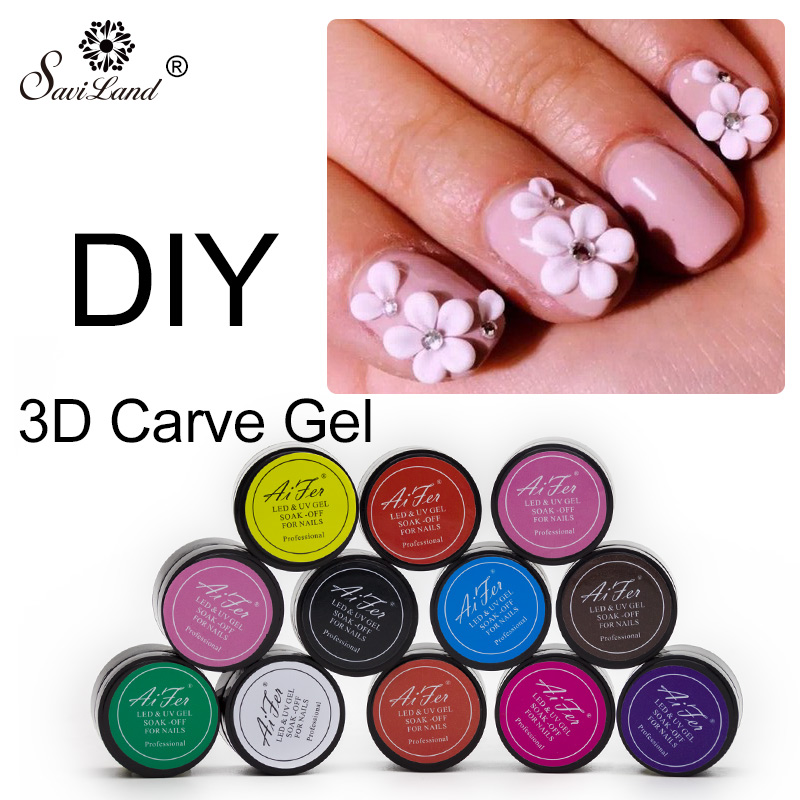 Saviland 12 Colors Modelling Builder 3D Uv Nail Gel Glitter Carved Nail Gel Art Tips Creative Manicure Decorative Tools