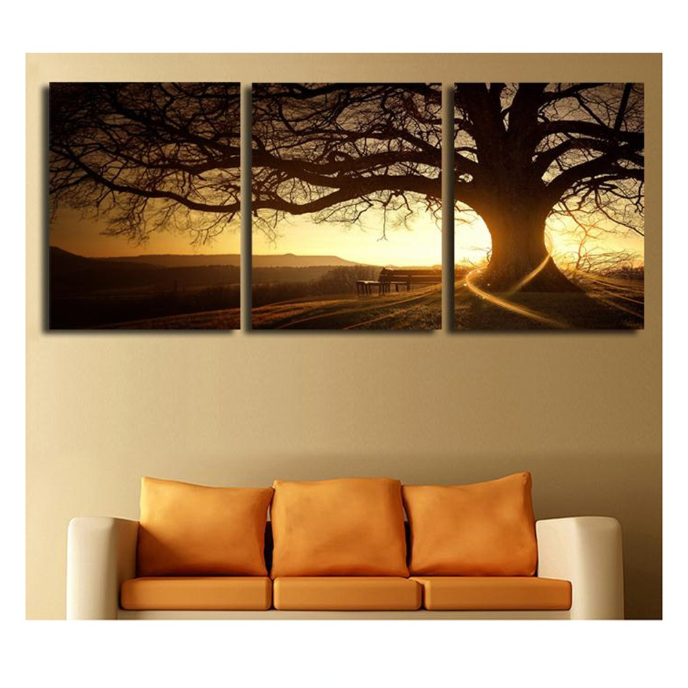 2016 3 Panel Modern Printed Tree Painting Picture Cuadros ...