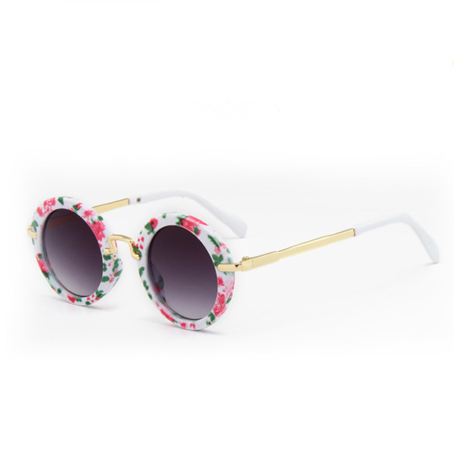 Black Floral Round Sunglasses Cute Baby Eyewear Children Fashion Shades Boys Girls Lovely Vintage Design Brand New