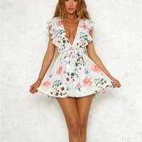 Women Summer Dress 2018 V Neck Cape Ruffle Flower Print Casual Mini Dress Boho Beach Vinatge