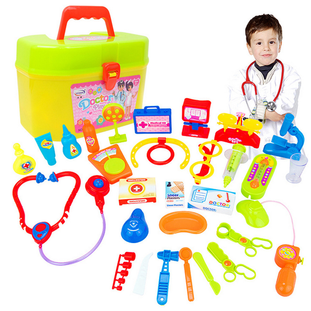 30pcs Doctor Play Toys Pretent Doctor Toys for Child Medical Kit Baby Educational Box Light Role Pretend Classic Gift