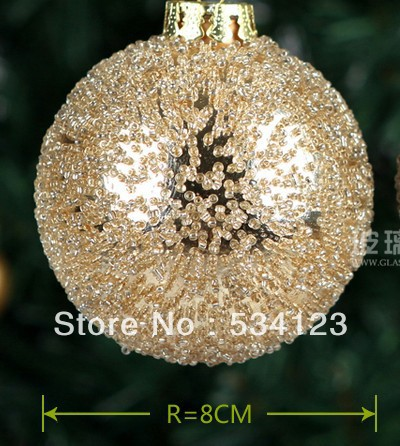 2013 wholesale 4dia8cm golden christmas glass balls pendant christmas tree ornaments gold xmas glass pendants in ball ornaments from home garden on - Christmas Tree Ornaments Wholesale