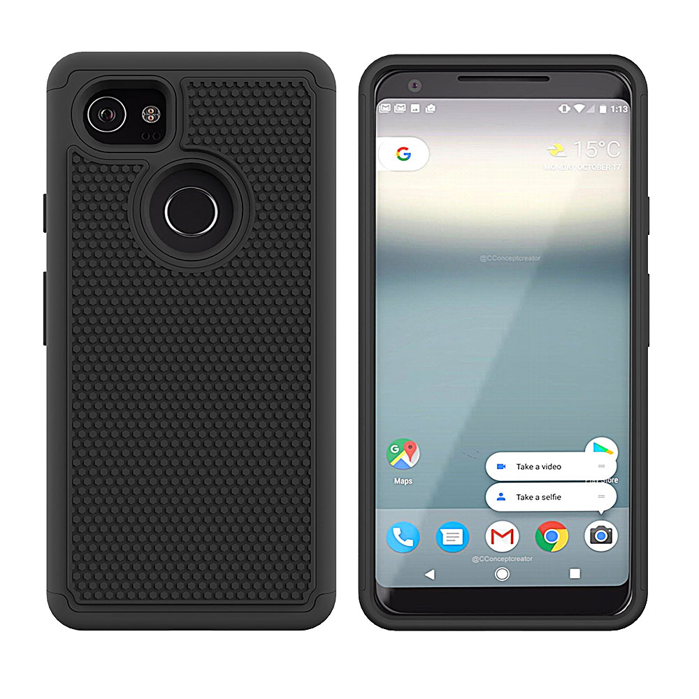 2 In 1 TPU &Amp; Hard PC Hybrid Rugged Case For Google Pixel 2 XL With Screen Protector Anti Drop Cover For Google Pixel 2 XL XL2 @