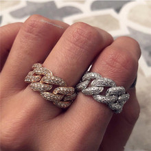 choucong Mens Cuban Link Rings 925 sterling Silver Ice Out Pave AAAAA cz Statement Party Rings For Women men Hiphop Jewelry
