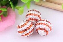 Kwoi vita 20mm 100 teile/los orange/weiß ab farbe chunky harzrhinestone korne ball für kinder schmuck machen