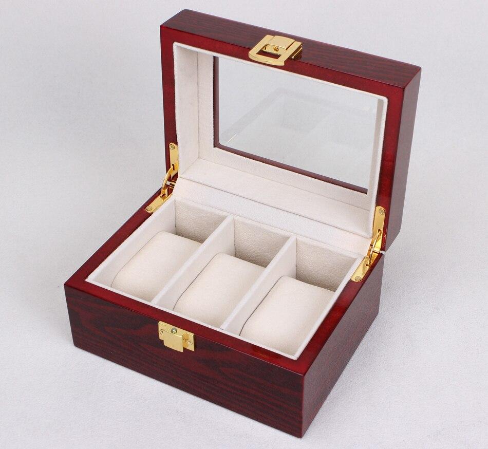 Zlimsn 2017 3 rejilla de madera caja de reloj caja de pantalla claraboya  transparente regalo rojo caja de joyería de lujo colecciones almacenamiento  Display ... ac1729f802