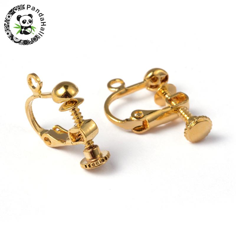 10pcs 13.5x17x5mm Brass Clip-on Earring Jewelry Findings Components Accessories for Non-Pierced Ears, Golden, Nickel Free