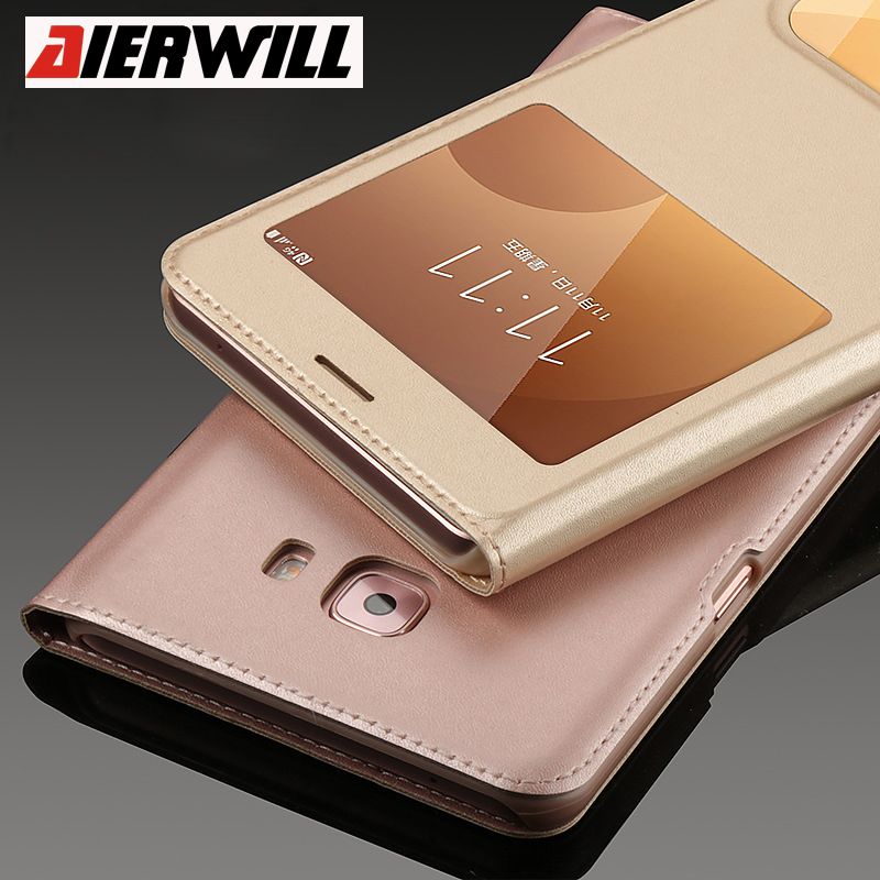 Luxury Leather <font><b>Case</b></font> for Samsung Galaxy C9 Pro <font><b>Case</b></font> Filp PU <font><b>Smart</b></font> Front Window View Cover For Galaxy A5 A7 A8 <font><b>Phone</b></font> <font><b>Case</b></font> Note 3