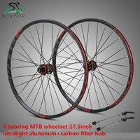 STK275 rodado aro de bicicleta de montanha da liga de Alumínio de 27.5 polegadas 4 roda rolamento hub de fibra de carbono com anti-cursor conjunto