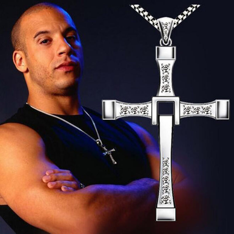 Movie Jewelry Pendant-Sliver Cross-Necklaces Dominic Rhinestone Classic Fast-And-The-Furious