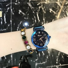 купить 2019 New Fashion Quartz Women Watch Top Brand  Stainless Steel Mesh Band Watches Women Luxury Starry Sky Dial Watch reloj mujer дешево