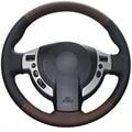 Palma xuji rojo negro de cuero genuino cubierta del volante del coche para nissan qashqai x-trail nv200 rogue