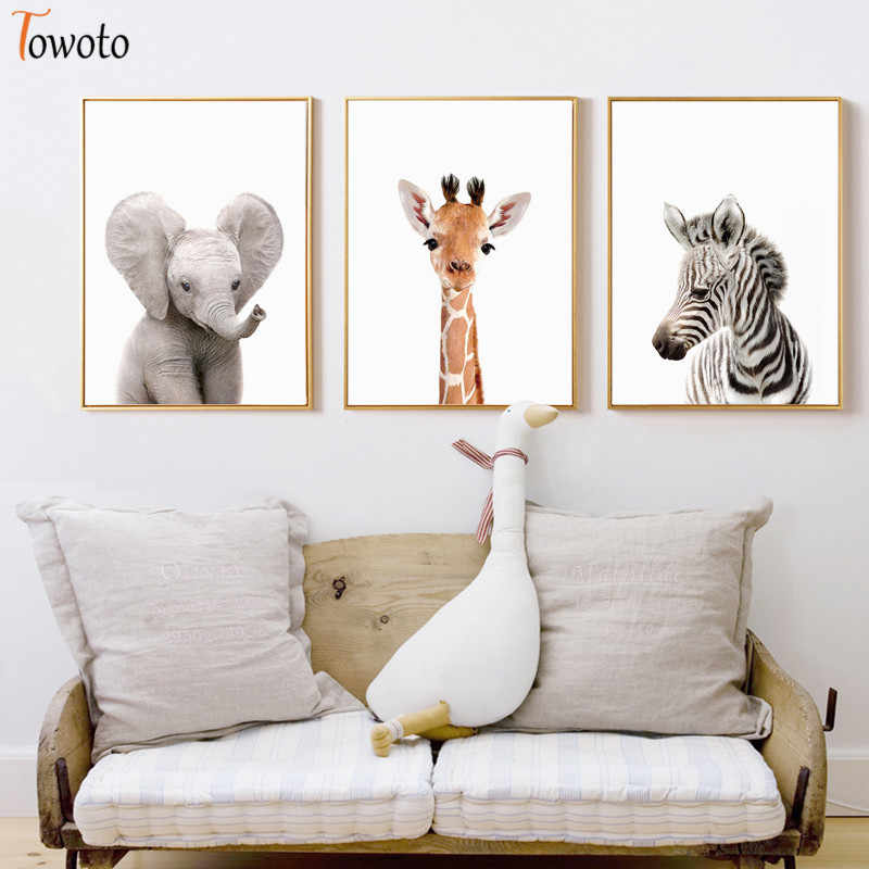 Zoo Animal Prints Giraffe Zebra Posters Minimalist Canvas Painting Safari Nursery Wall Art Baby Room Decoration Wall Pictures